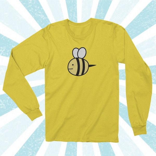 Bee and Puppycat Sweater design Long sleeve shirt (28 CAD) ❤ liked on Polyvore featuring tops, yellow long sleeve top, bee shirt, long sleeve shirts, bee print shirt and yellow long sleeve shirt