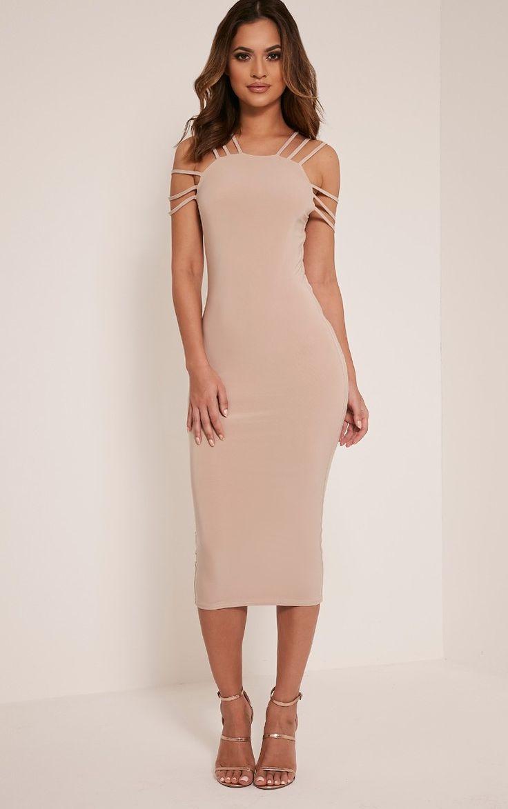 Kellia Stone Multi Strap Detail Midi Dress