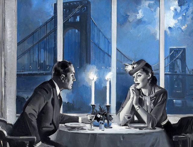 A serious conversation between lovers, set against candle light. Art by August Bleser.