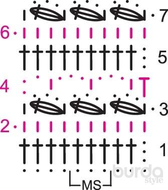 Волнистый узор - схема вязания крючком. Вяжем Узоры на Verena.ru