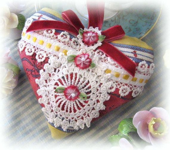 Heart Sachet Sachet Heart Decorator Stripe Prim by CharlotteStyle, $13.00