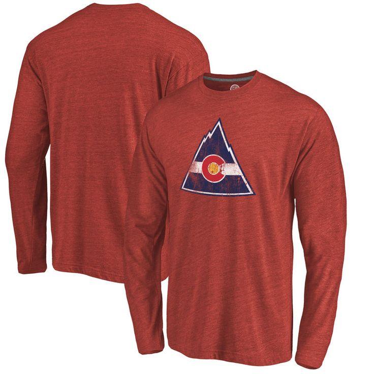 CO Rockies Throwback Logo 1976-1977 Tri-Blend Long Sleeve T-Shirt - Cardinal