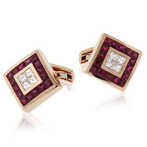 Rose Gold Diamond and Ruby Cufflinks | SimpsonJewelers.com