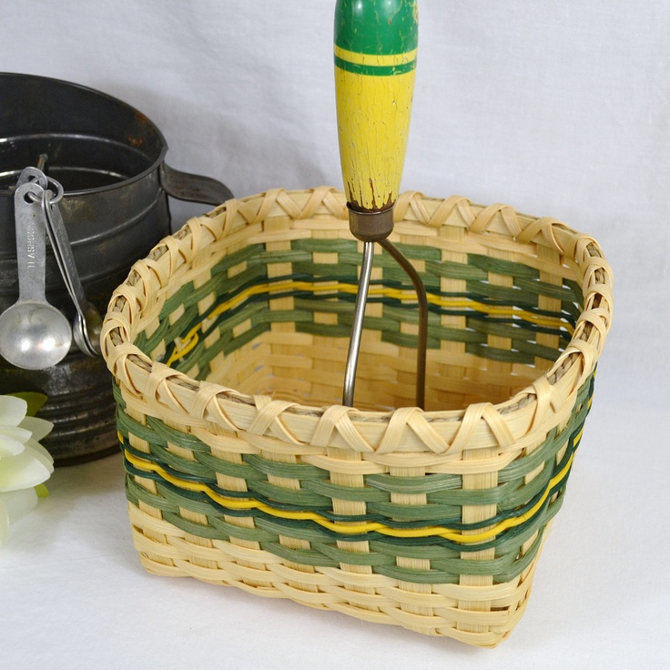 Antique Masher Handle Basket Handwoven with Reed or Wicker in Green and Yellow. $30.00, via Etsy.