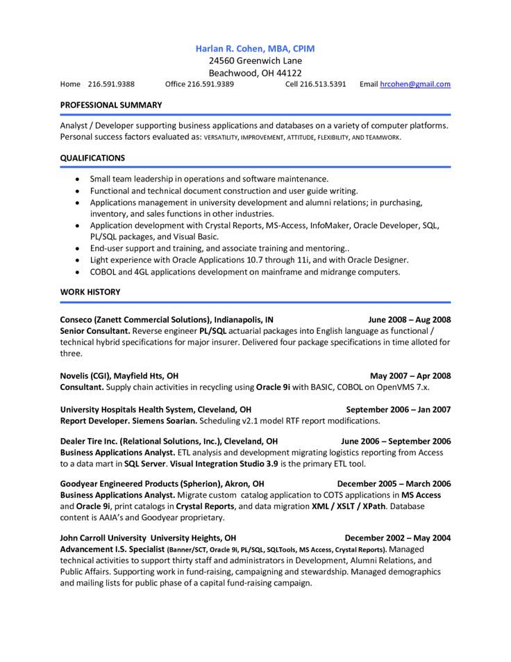 Mba Career Summary Resume  ContegriCom