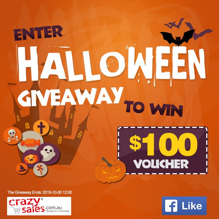 Halloween is just around the corner! It is one of the best holidays because it has fun costumes, scary stories, delicious candy, and of course, the jack-o-lantern. To celebrate, http://www.crazysales.com.au/ is giving away $100 voucher. Like our page and share this post to enter the Giveaway. Enter before 12:00pm, Friday, October 30th (AEST) One lucky entrant will be randomly chosen as the winner! *Only open to Australian residents. Enter to win on our Facebook page.