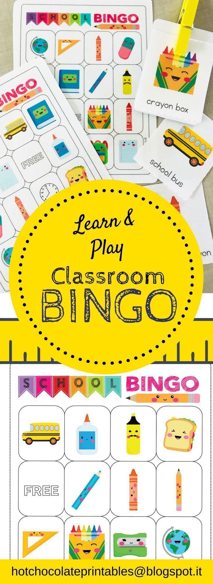 School Supplies Bingo Board And Flashcard Set Flashcards Games For Kids Classroom School Classroom [ 2000 x 730 Pixel ]