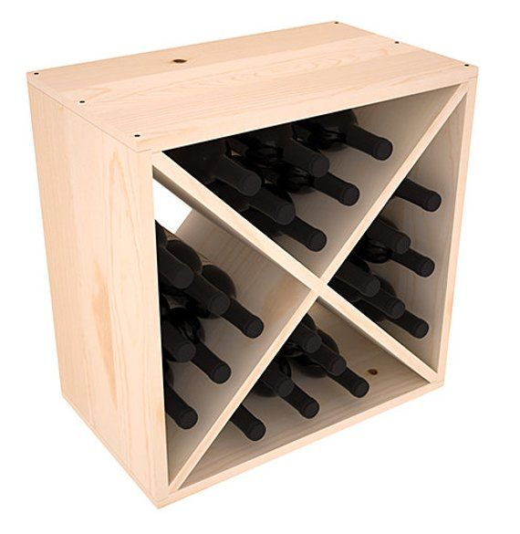 Hand Crafted in the USA. 82 Bottle Diamond Cube Wine Cellar Rack Kit in Redwood