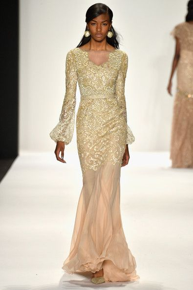 A model walks the runway at the Badgley Mischka fashion show during Mercedes-Benz Fashion Week Fall 2014 at Lincoln Center on February 11, 2...