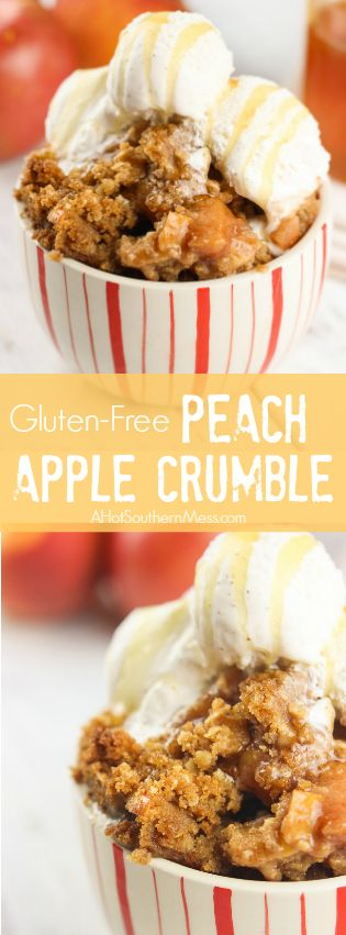 This gluten-free peach apple crumble is a favorite fall treat. Crisp apples are mixed with sweet end-of-season peaches as a base. Cinnamon, brown sugar, gluten-free oats, and lemon juice are combined with a bit of sweet cream butter, to finish off the candy-like crumble topping. Serve right out of the oven with soft vanilla bean ice cream and a fresh honey drizzle. www.ahotsouthernmess.com