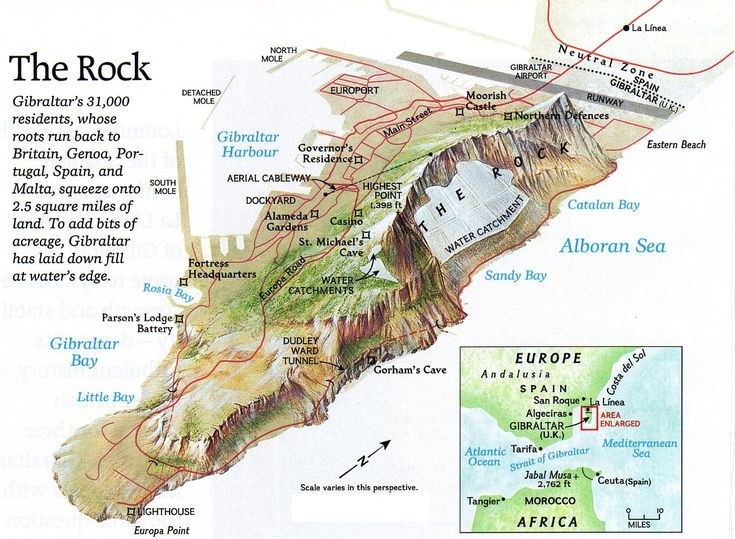 Excellent map of Gibraltar showing points of interest.