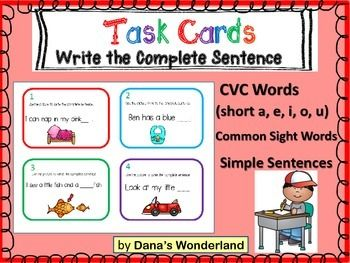 Kindergarten Writing Activity : Practice writing correct sentences using CVC words in a fun way!This product contains 24 cards that require the students to complete and write simple sentences.The purpose is to give the students the frame of a correct sentence and the opportunity to practice sounding out CVC words.Each card features the picture of a CVC word (short a, e, i, o, u) and a sentence with a blank.The student has to sound out the word and write the complete sentence.Example:Card…