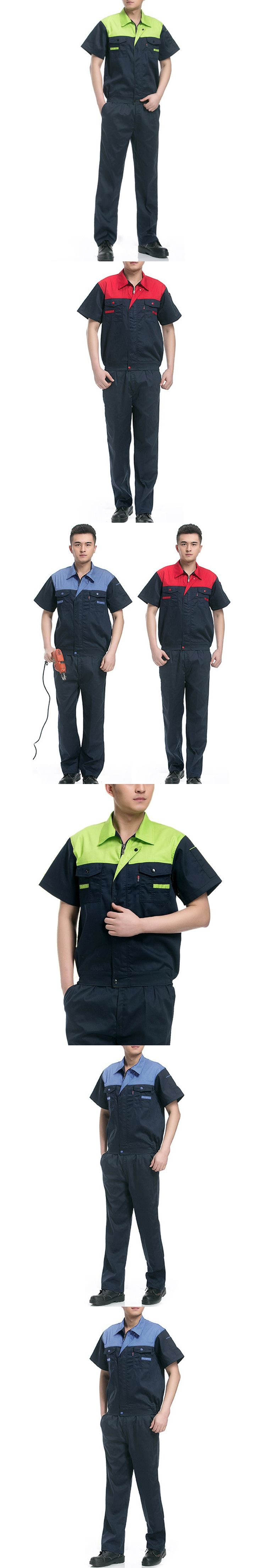 Men's Set Summer Work Clothes Safety Workwear Engineering Welding Uniform Work Clothing Short Sleeve Tops + Pants