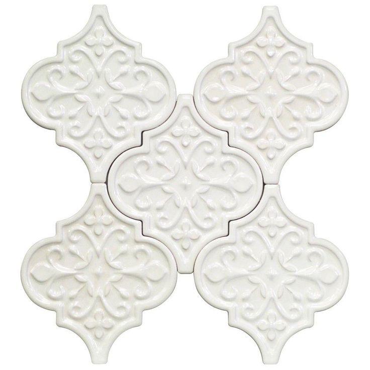 Splashback Tile Vintage Florid Lantern White 6-1/4 in. x 7-1/4 in. x 8 mm Ceramic Wall Mosaic Tile (5 Tiles Per Unit)