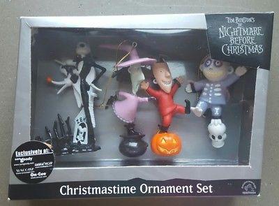 Lock, Shock and Barrel Zero Tim Burton Nightmare Before Christmas Ornament Set