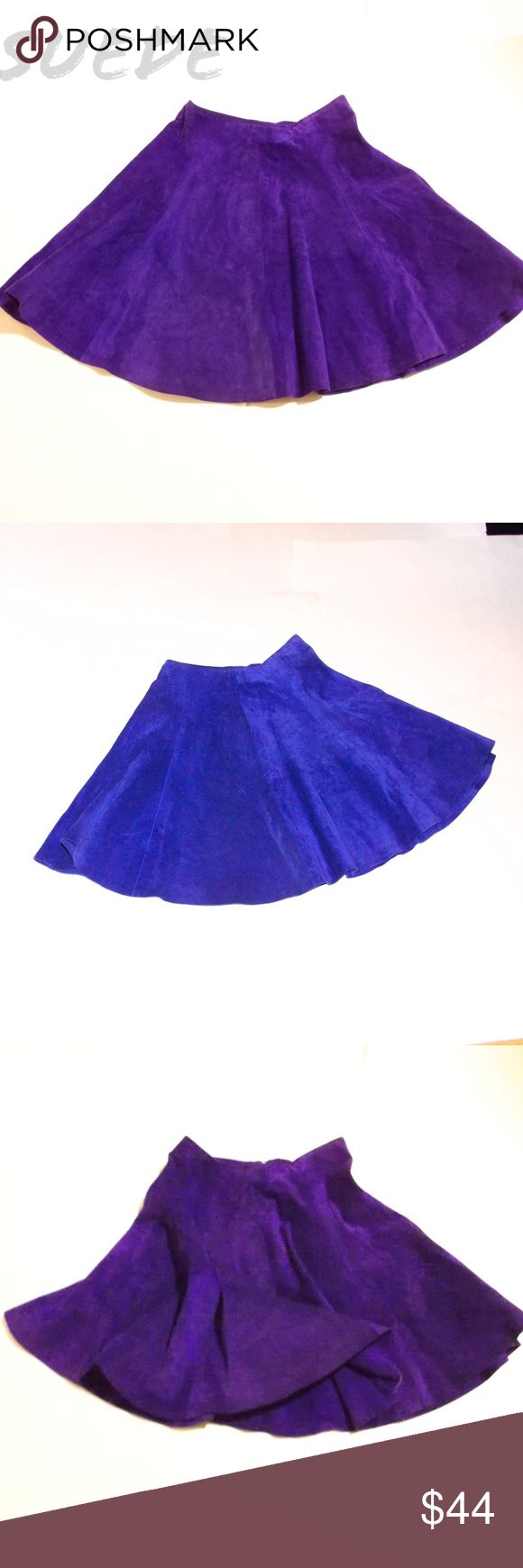Vintage Leather Mini Skirt Goth Rocker Glam Boho Firenze Santa Barbara Vintage 80s SUEDE leather fit and flare mini cheerleader punk skater skirt in bright purple! Purchased new by me in the 80s and worn a few times, but mostly stored.  Soft and flirty, this is a substantial suede, unlined, Very good vintage condition and perfect for layering over petticoats, slips, tights etc.  Some photos show the color as a cobalt blue - deep vibrant grape PURPLE is the color.  VERY figure flattering and…