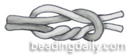 The surgeon's knot is very secure and therefore good for finishing off most stringing materials. Tie an overhand knot, right over left, but instead of one twist over the left cord, make at least two. Tie another overhand knot, left over right, and pull tight. See also knotting