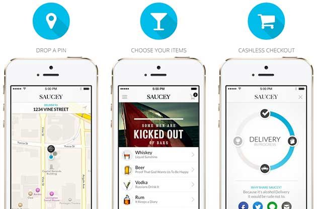 """Saucey, a Los Angeles startup with an app that allows users to have alcohol brought to their door. The Los Angeles Times recently called it """"the Uber of liquor delivery."""""""