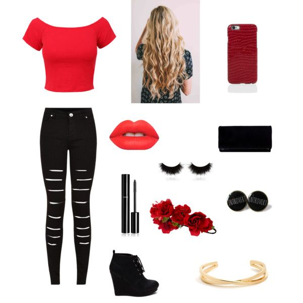 Cute red and black outfit for a night out
