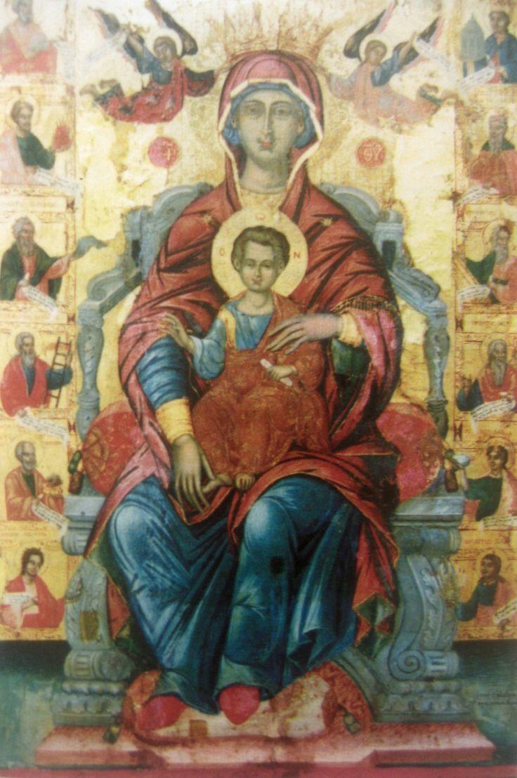 Η Θεοτόκος. Δεσποτική εικόνα στο ναό του Αγίου Χαραλάμπους στο Φρύνι. Έργο του Στυλιανού Δεβάρη.