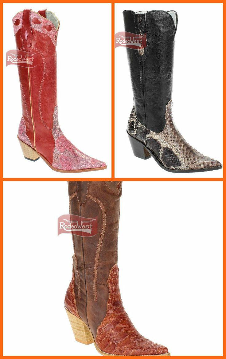 Botas femininas exóticas, modelo Western Texana bico fino, fabricada em couro legítimo, arraia, cobra e avestruz. Link >> http://www.rodeowest.com.br/c/173-botas-exoticas