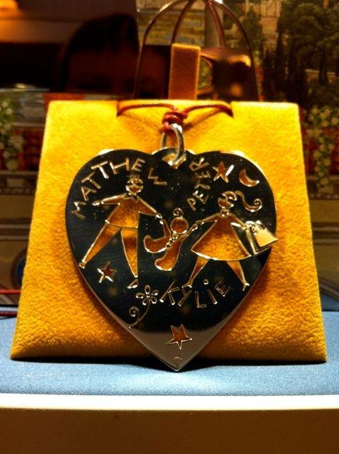 Siamo una famiglia!!!!! Pendente cuore in argento, con borsetta applicata!