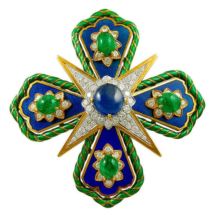 DAVID WEBB Two Tone Diamond,Sapphire & Emerald Brooch | From a unique collection of vintage brooches at https://www.1stdibs.com/jewelry/brooches/brooches/