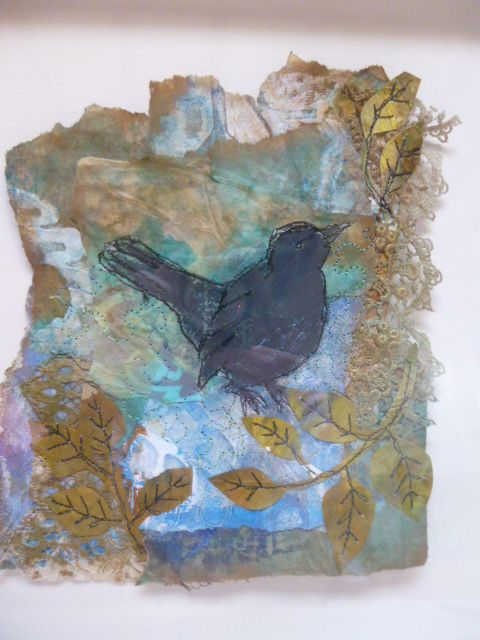 Blackbird - papers painted, printed and collaged,with machine stitching