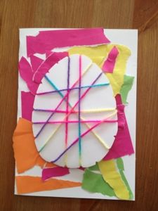 Make an Easter egg string art card with your kids! #crafts