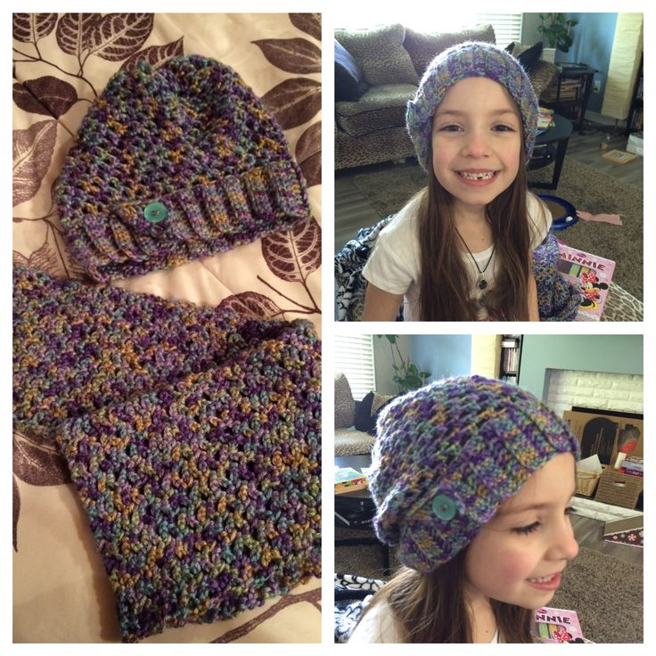 Kids slouchy hat and infinity scarf