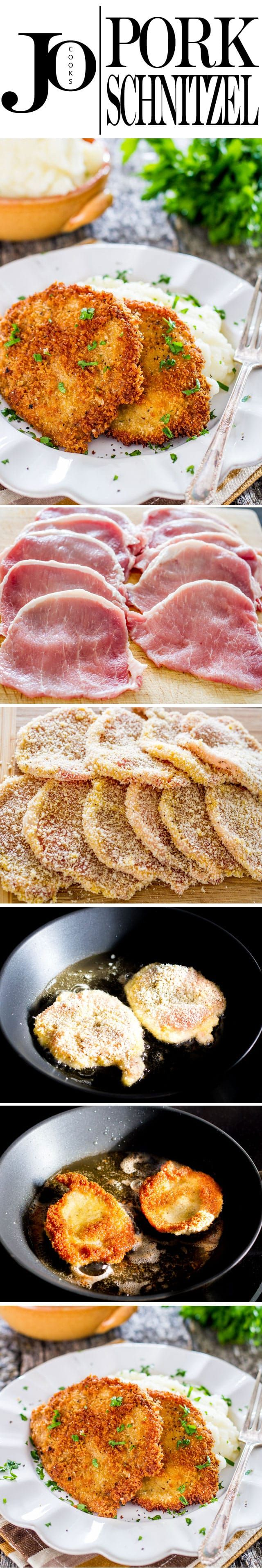 Use this super easy to follow recipe to make Pork Schnitzel made with pork cutlets. Serve with lemon wedges and mashed potatoes for an easy and satisfying dinner. via @jocooks