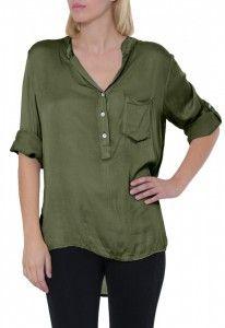 CASPAR Damen Satin Bluse / Hemdbluse mit Seidenglanz und Perlmuttknöpfen - viele Farben - BLU007 Bekleidung Blusen & Tuniken Blusen