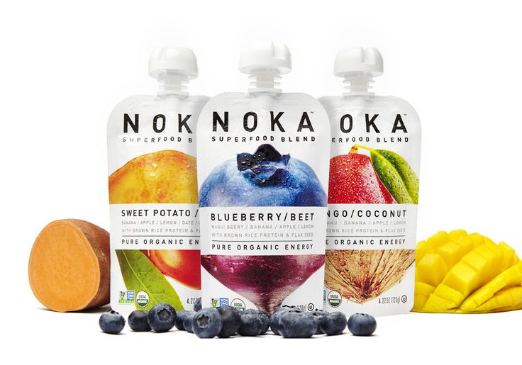 Enter the world of the superfoods with Noka's line of blended purees.  Designed by Make & Matter , Erotic fruits and veggies are put into crisp  white pouches with a resealable cap for on-the-go. The purity and  simplicity of the product is celebrated in an impactful way with the main  ingredients split in half and combined to form one. The typography and  layout are kept to a minimal allowing the ingredients to really shine.