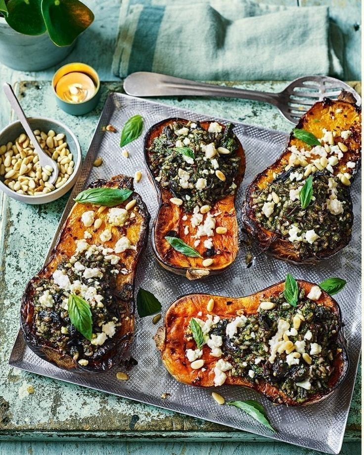 Butternut Squash Stuffed With Pesto Rice