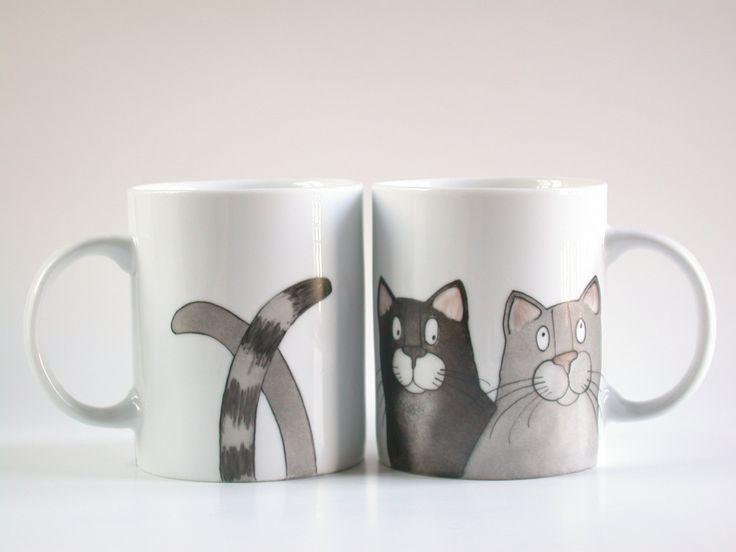 расписанную серые кошки кружку черных кошек чашки кофе табби по madrab