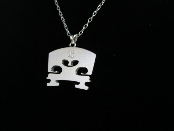 Sterling Silver Bridge Necklace - Spectacular Modern Music Jewelry - Violin, Viola, Cello