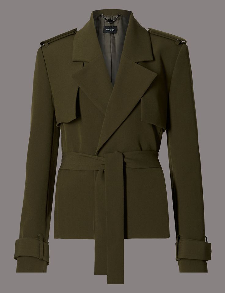 Crop Belted Trench Jacket