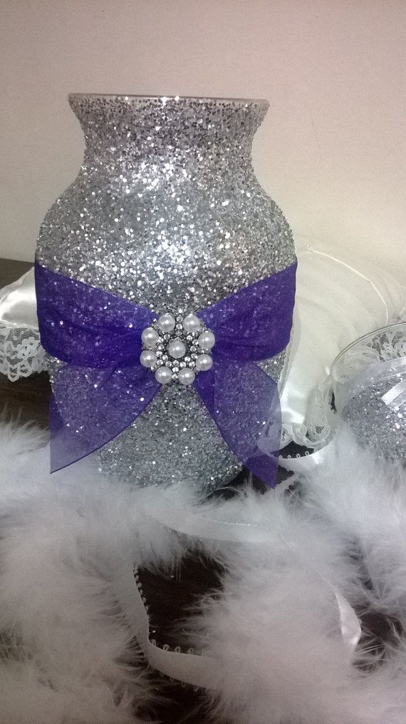 Silver Glitter Vase With Purple Ribbon Wedding