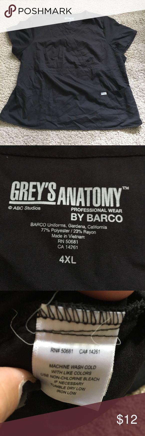 Greys anatomy sz 4x scrub top Grey's Anatomy black size 4X scrub top see our other scrubs would love to bundle and save you money grey's Anatomy Tops