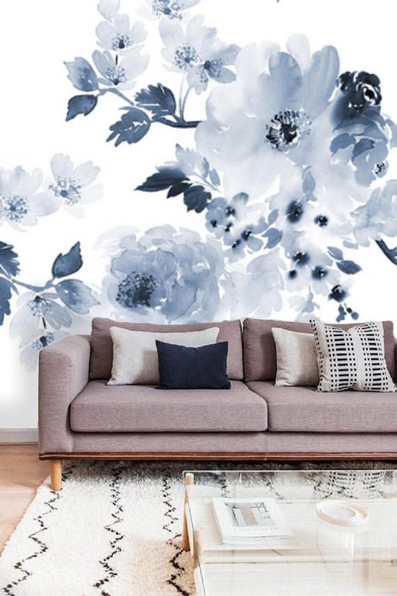 Blue And White Floral Wallpaper Blue Wall Mural Remove Etsy Wall Murals Floral Wall Decals Floral Wallpaper