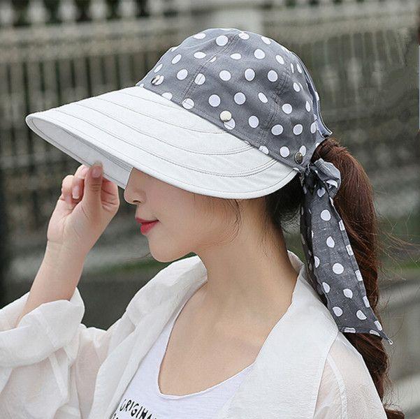 Leisure polka dots sun protection hat for girls UV removable visor hats