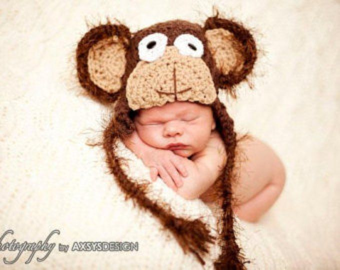 baby boy hat , baby girl hat , baby monkey hat, infant monkey hat, monkey beanie, character hats, monkey photo prop, crochet monkey beanie