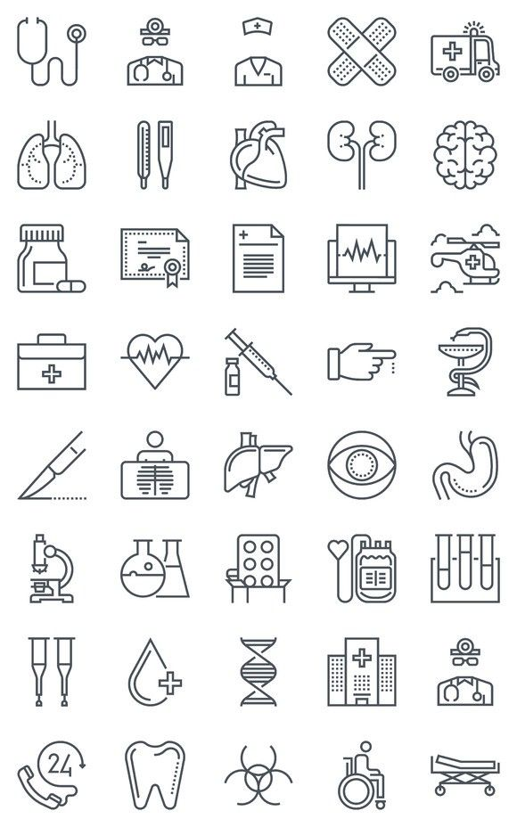 40 Hospital, health icons. Medical Infographic. $8.00
