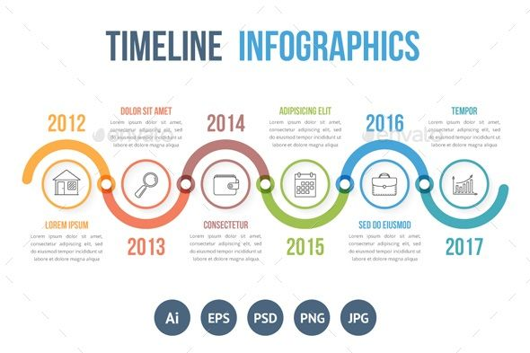 Timeline Infographics Horizontal timeline infographics template with colorful circles, workflow or process diagram