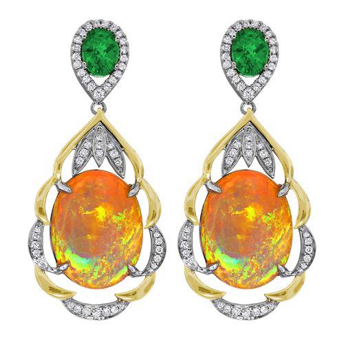 Spark Creations - E 22568-OPAL earrings  00.47 CT DIAMOND 02.21 CT TSAVORITE 12.74 CT OPAL