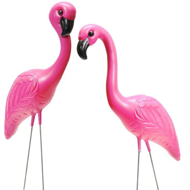 Amazon Com Set Of 2 Pink Flamingo Novelty Yard Lawn Art