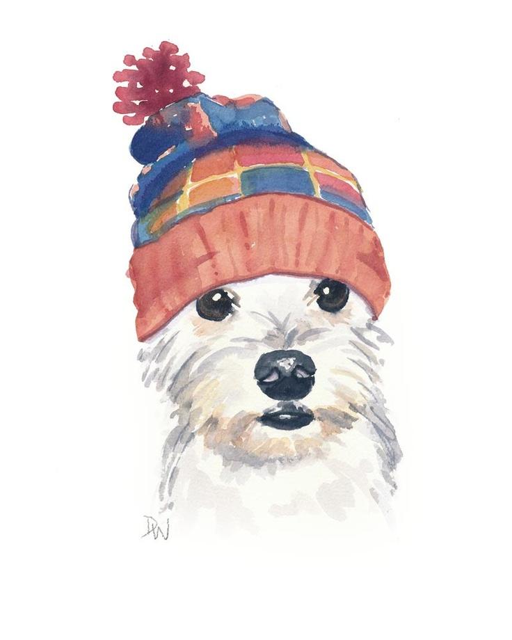Original Dog Watercolor Painting - Dog Illustration, Snoodle, Knit Toque, Nursery Art, 8x10 painting. $40.00, via Etsy.