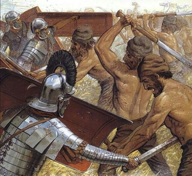 The Dacian Wars - here the Dacians made use of the Falx, a large curve-bladed sword with a single edge on the inside curve. This two handed sword had superb cutting ability and it's impact on the Roman helmets of the time led to a later improving addition of reinforced forehead plates.
