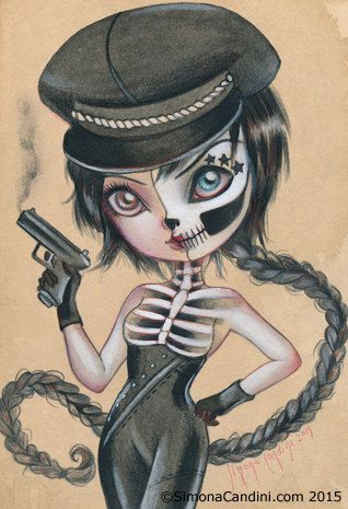 Death Starlet LIMITED EDITION only 25 print signed numbered Simona Candini lowbrow pop surreal big eyes art skully girl gothic sugar skull