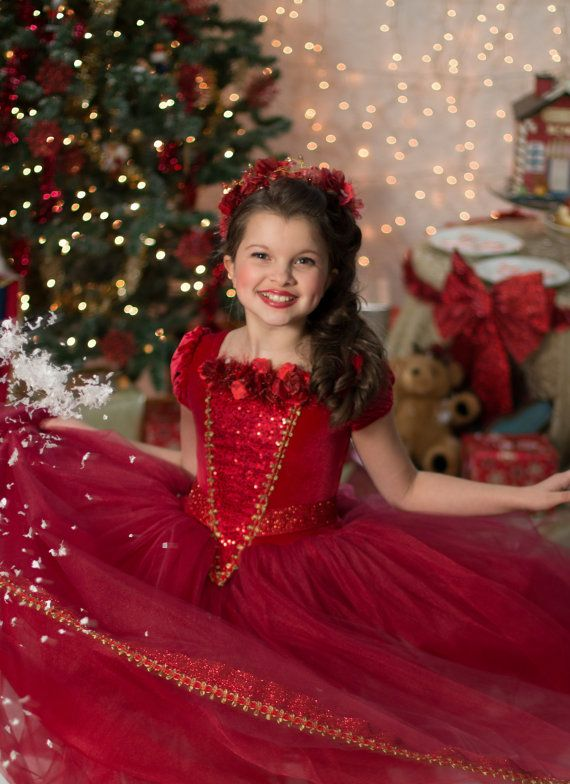 Red Christmas Ball Gown Princess Party Dress by EllaDynae on Etsy, $250.00